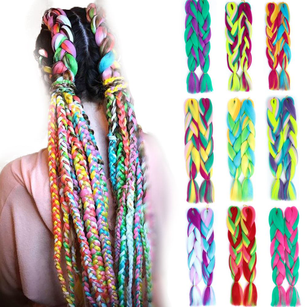 Hair Extensions Jumbo Braids Purple Pink Red Blend Candy Mix Color from Four Shades Crochet Braiding Synthetic Hair