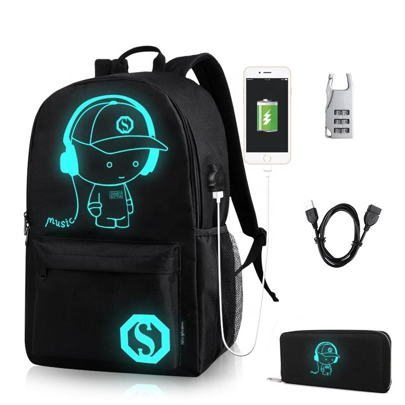 INEO School Backpack Cool Luminous School Bag Unisex Laptop Bag with Pencil Bag for Boys Girls Teens