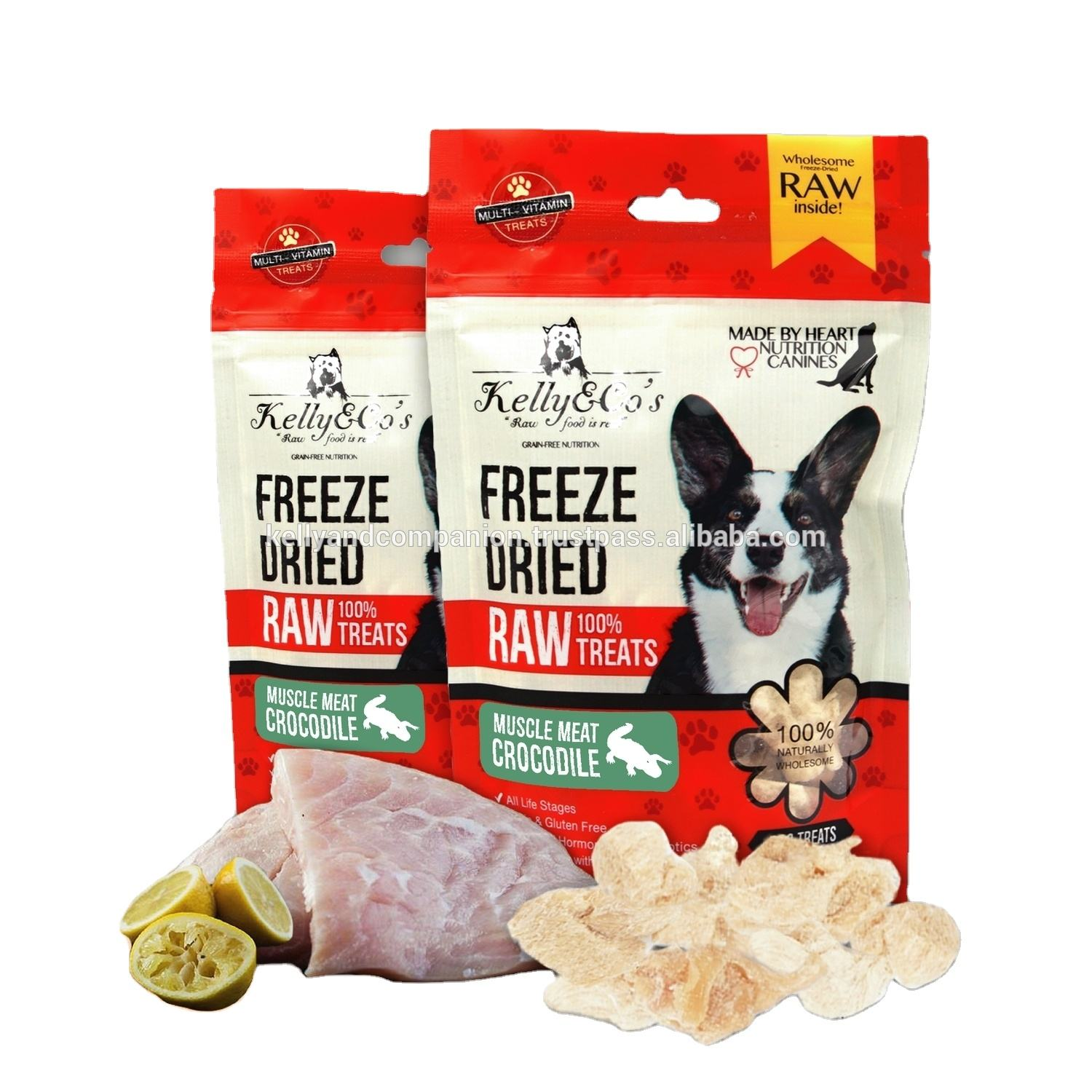 Kelly & Co's Freeze Dried Crocodile Muscle Meat Pet Food Treats Natural High Quality Protein Nutrition Stable Shelf Life