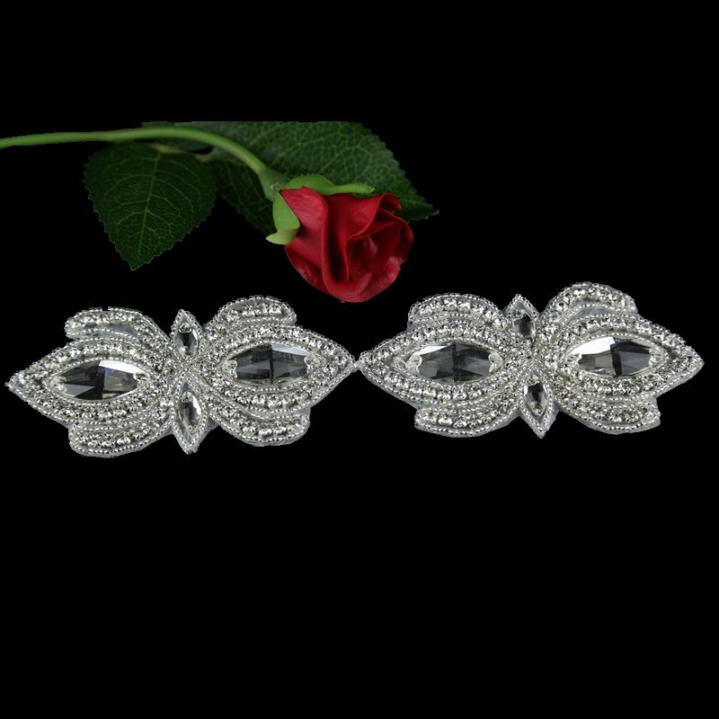 Wholesale Decorative Rhinestone Sew on Applique Iron on Silver Crystal Patterns Patch for Wedding Bridal Dress