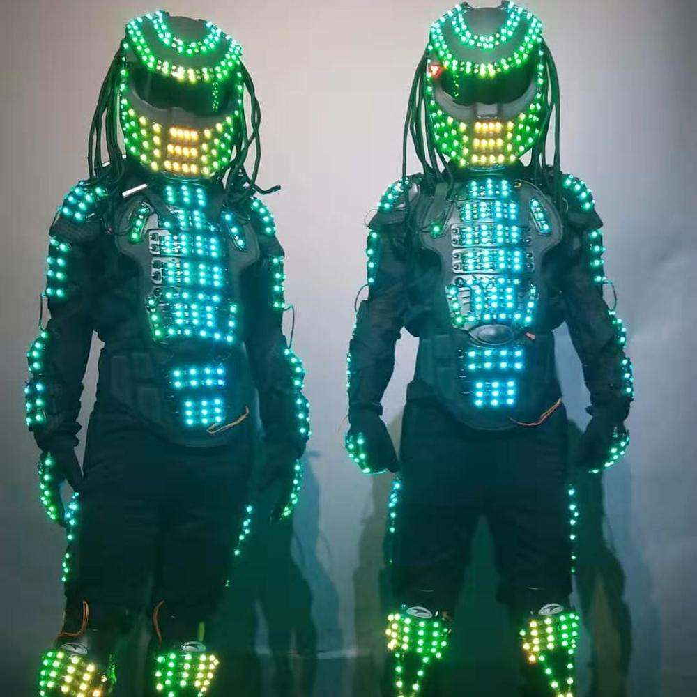 New Arrival colorful LED Robot Costume Night Clubs Partyled clothing Light Suits LED Robot Suit Robot dance wear