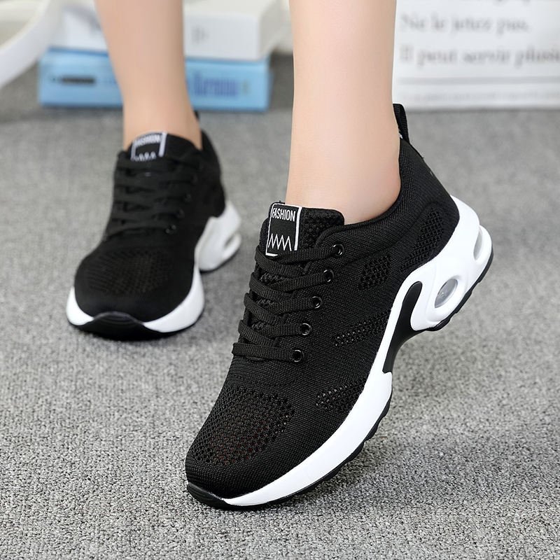 Fashion Air Cushion Flying Woven Mesh Sneakers Casual Sport Shoes Women for Running Hiking