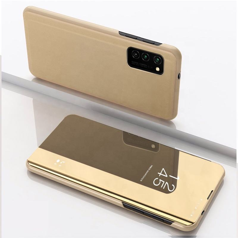 For Samsung Galaxy S20 Clear View Stand Flip Cover Case Smart Mirror Electroplate Plating Protective Phone Case for S20
