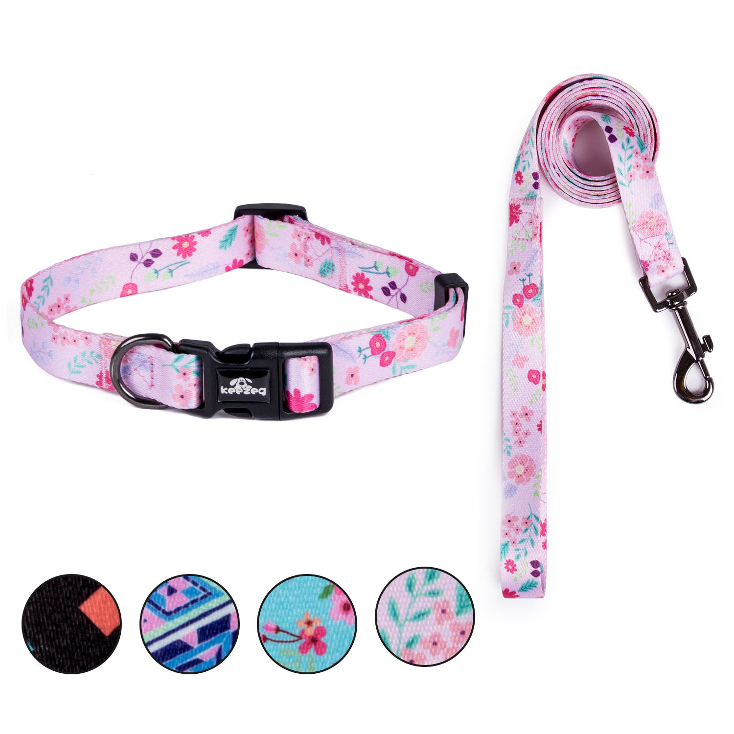 Original design Pink dog collar leash set fashion duty pet products cat dog collars with leash matching
