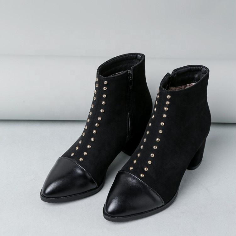 Large US Size 14 Women Square Heel Ankle Boots Pointed Toe Rivets Studs Booties Lady Dress Side Zipper Short Boots