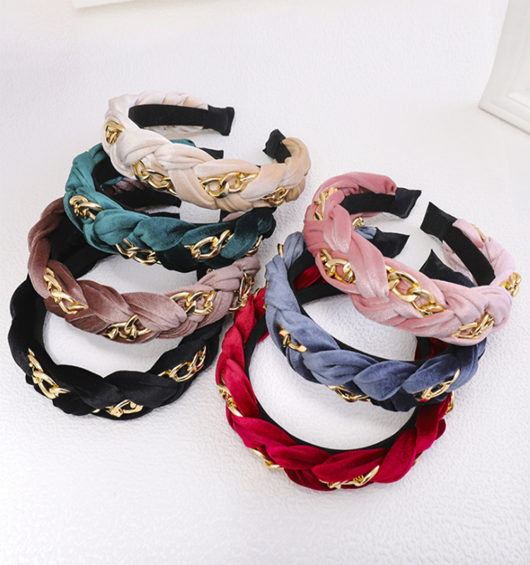 Women's hair accessories twisted gold chain velvet knot spa headbands