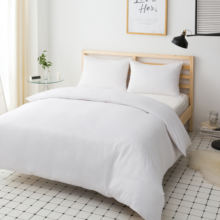 MOHAP Hot Sale White Color  100% Polyester  Microfiber Fabric Comforter Cover With Two Pillowcase