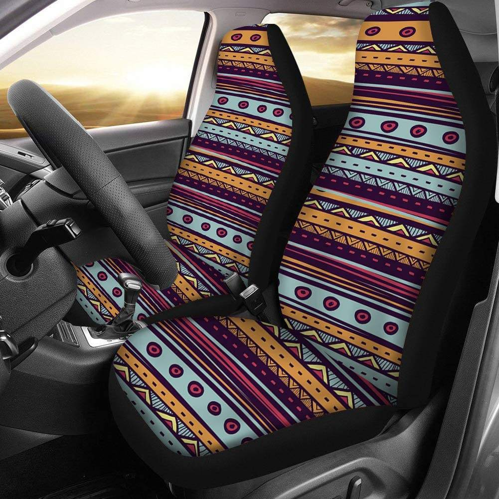 Wholesale Thick Adjustable Stretch Seat Protector for Car Aztec Pattern Universal Car Interior Seat Covers 2 Piece