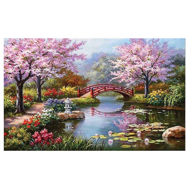 3D Scenic diamond painting party needlework precise printed set cross stitch square diamond Embroidery ASF082