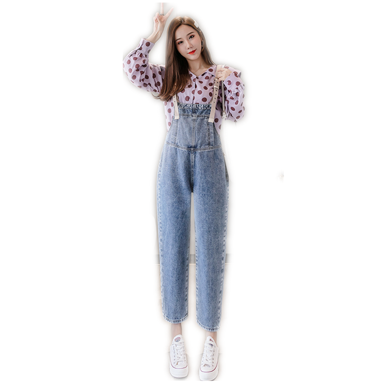 2019 OEM Womens Ladies Denim Jeans Full Length Overall Jumpsuit