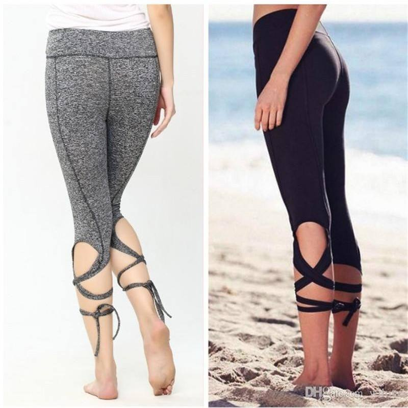 Fashion Women Leggings Sexy Winding Lace-up Sport Yoga Leggings Fitness Pants Gym Legging Dance Ballet Tie Wrap Bandage