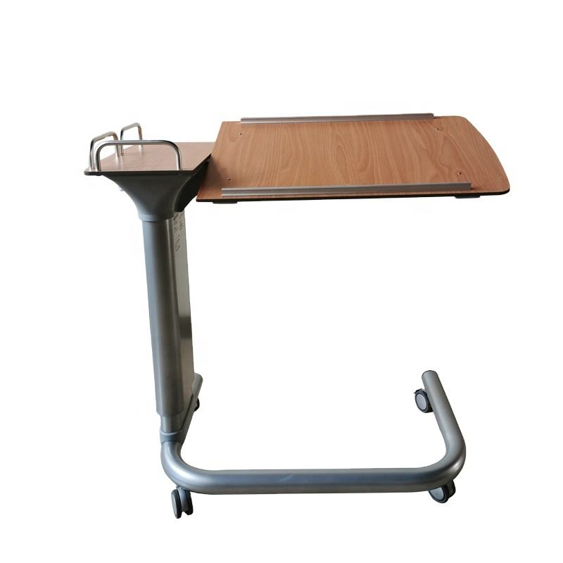 Height adjustable hospital over the bed table for dinning