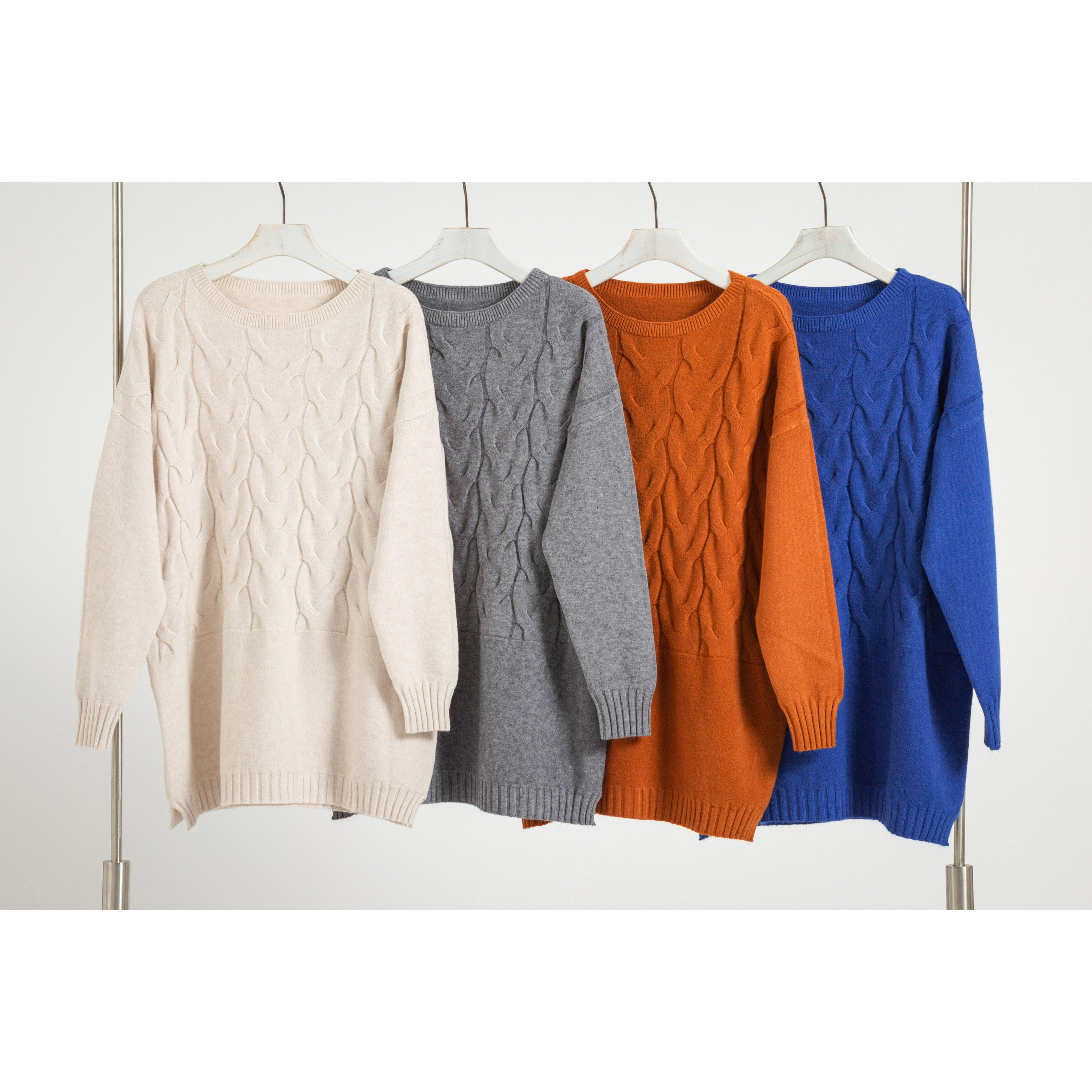 Fashion Custom Women Oversize Knit Top Knitwear O Neck Long Sleeve Knitted Sweater for Women (4colors)