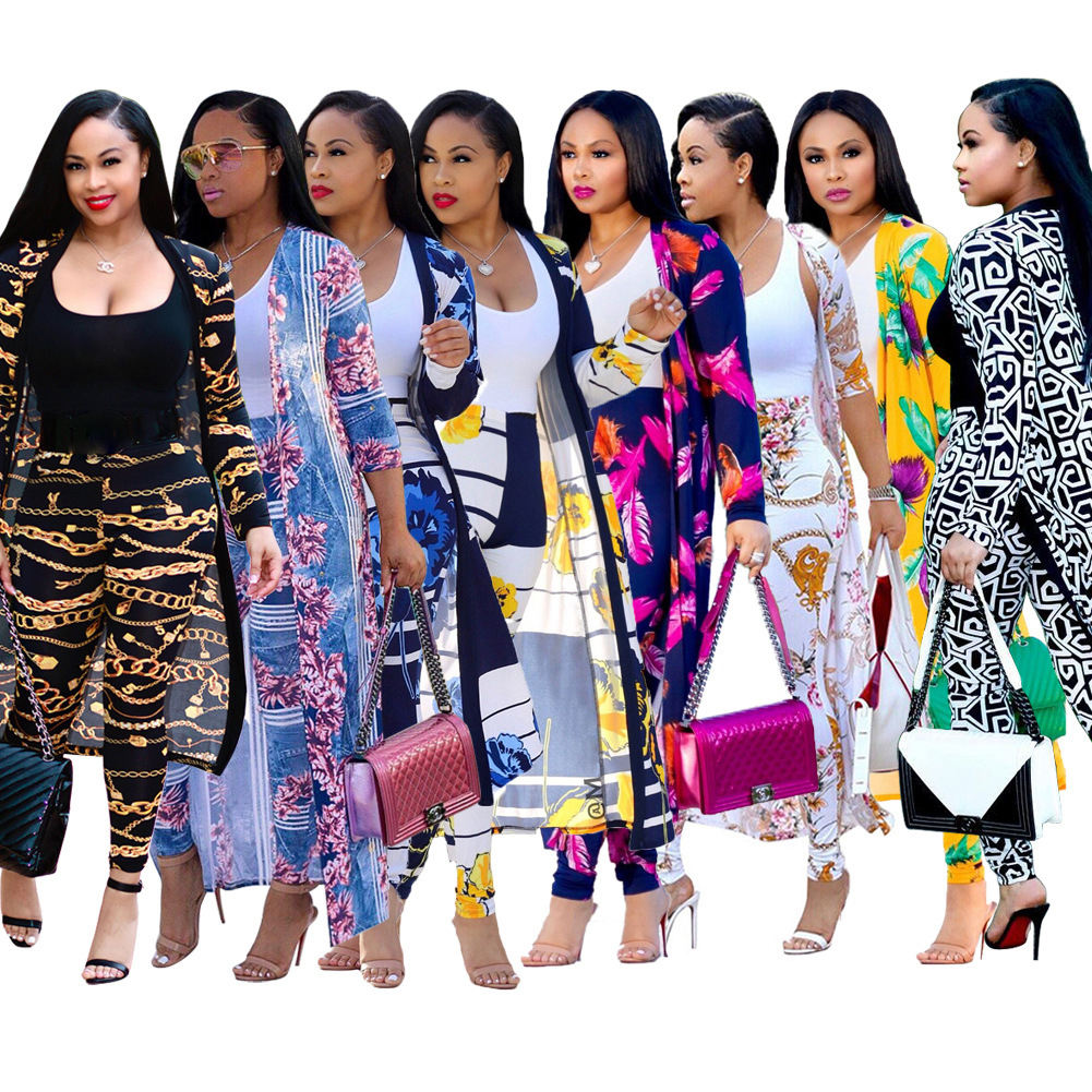 Foma Dresses Women fall clothing Lady elegant Printed long coat leggings two piece set boutique clothing
