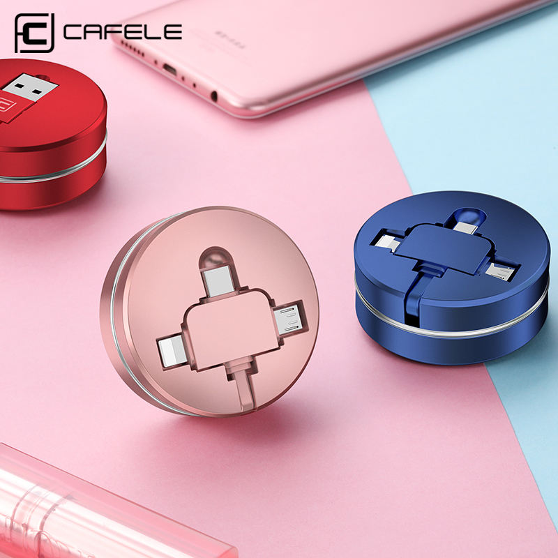 Mobile Accessories 90 Degree Retractable Cable 3 in 1 Micro USB Fast Charging Cable Roll