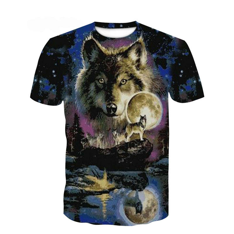 Wolf 3D Print TShirt Animal Cool Funny T Shirt Men Short Sleeve Summer Tops Tshirt Male Fashion T-shirt Cotton T-shirts