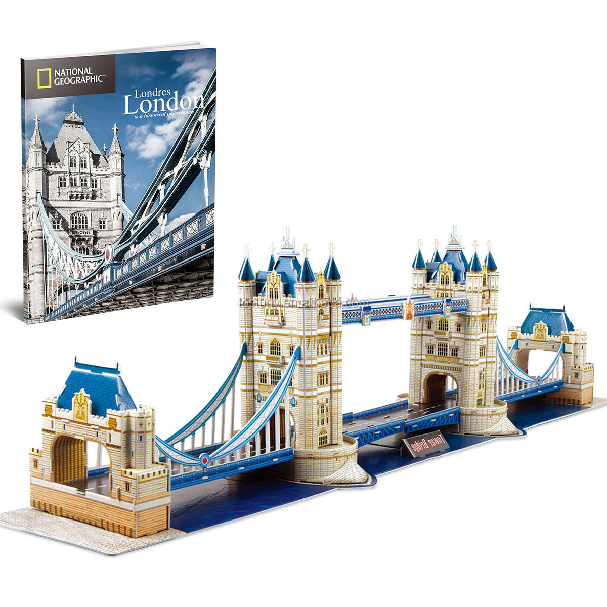 Tostudy Paper Puzzle London Twin Bridge Model Kit with LEDs 3D Puzzle Toys for Kids