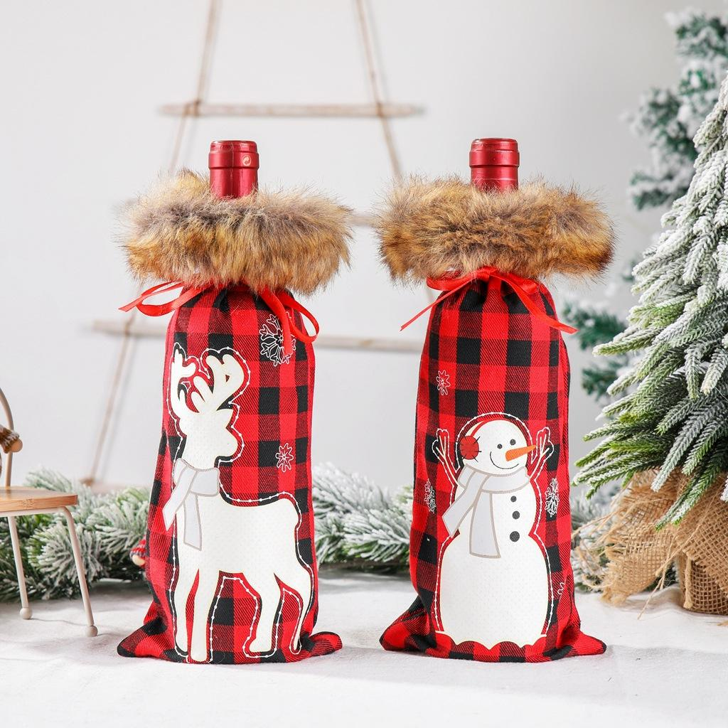 Christmas decoration Plush case cover fabric textile christmas plaid wine bottle bag gift party decorations