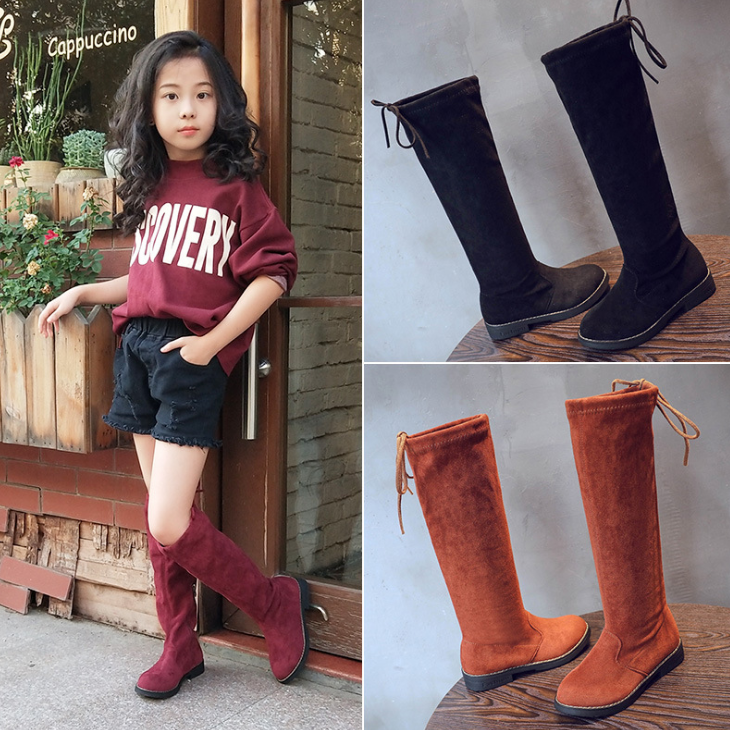 YY10113S Latest design winter season kids tall black long boot girls knee high leather boots