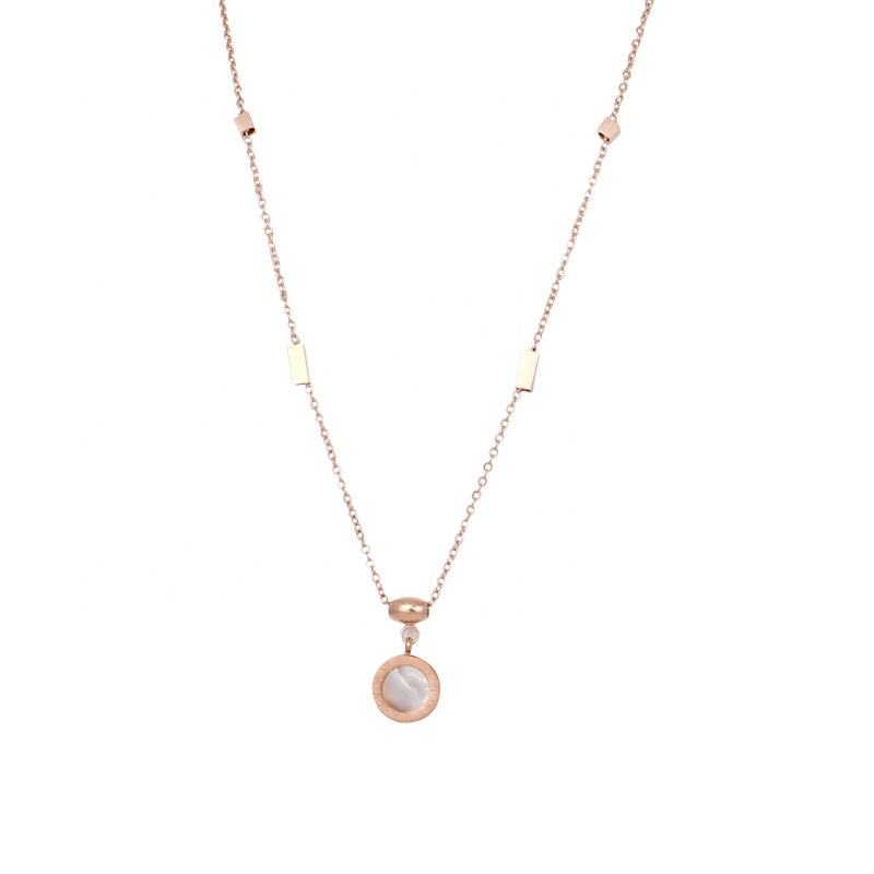 Hot selling rose gold titanium steel necklace double-sided collarbone chain non-fading pendant neck chain simple pendant