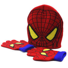 Autumn Winter Spiderman Children's Hat Baby Cartoon warm knitted Hat and Gloves