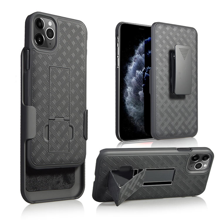 Rubberized cell phone cover weave combo holster case kickstand with belt clip for iphone 12
