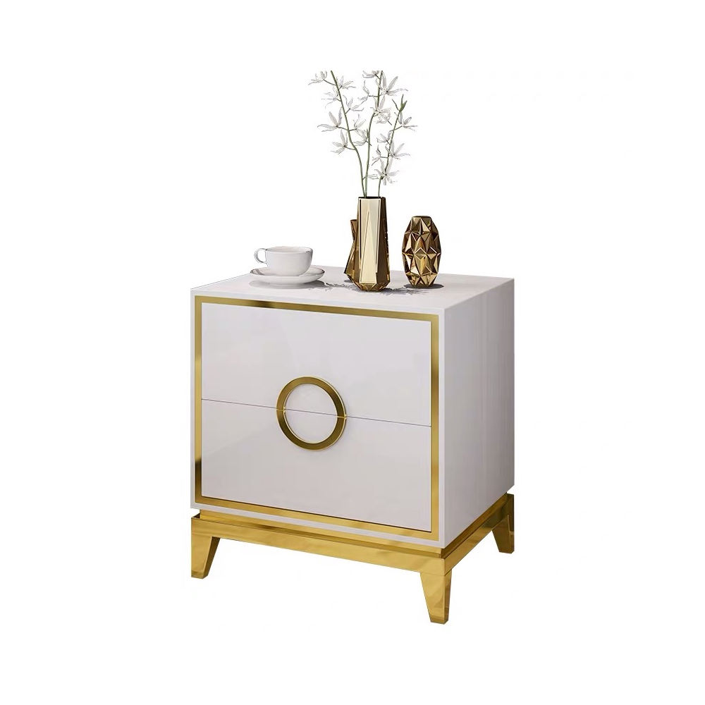 Unique Home Usage Luxury Smart Mirrored Bedside Table Nightstand White For Bedroom