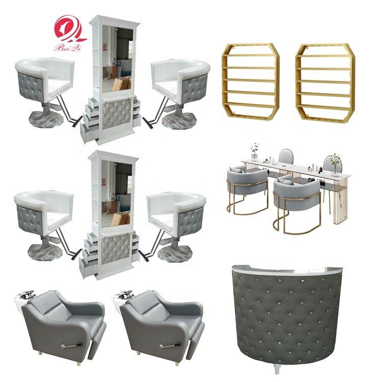 Silla de peluqueria salon furniture set grey hydraulic barber chair for hair salon