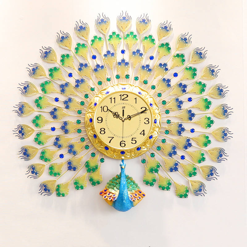 Luxury creative modern minimalist peacock clock living room home decoration