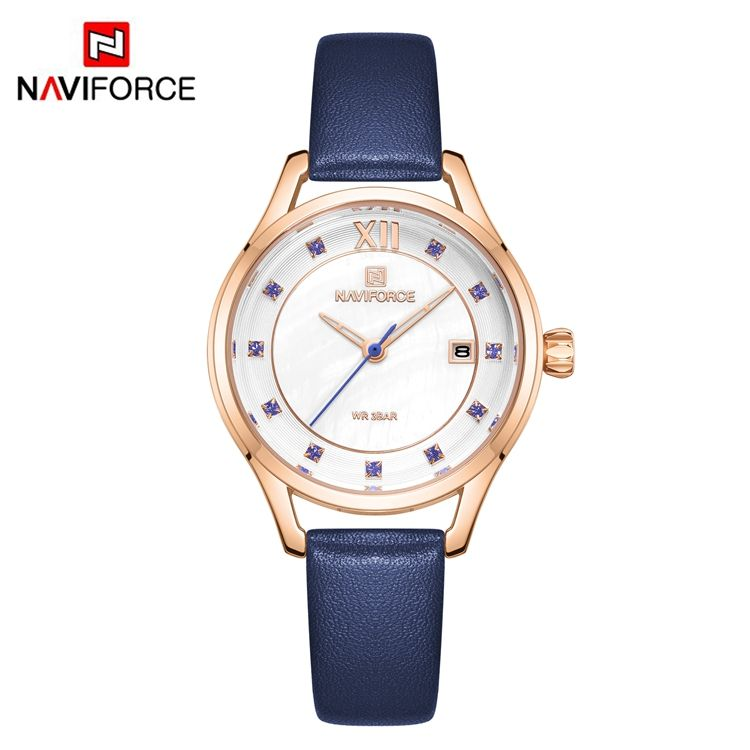 NAVIFORCE NF5010 Quartz Analog Fashion Ladie's Watch Charm Leather Water Resist Women Watches Day Date