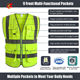 Green Vest Customized Safety Vest Practicability Custom 2Pockets Neon Green Safety Vest With Customized Safety Vest