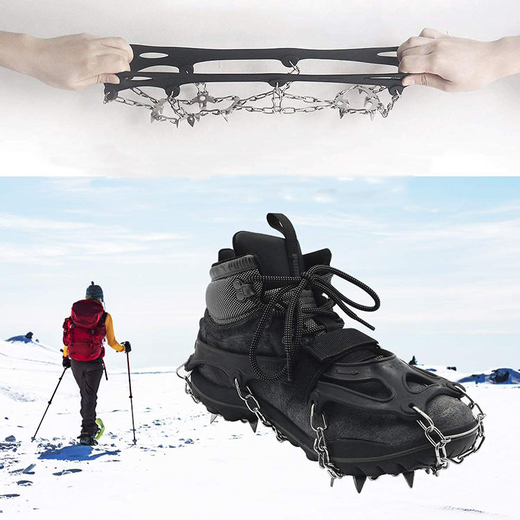 Crampons Ice Snow Grips Traction Cleats Shoes Grips with 18 Spikes Boots Shoes Safe Protect Lightweight Crampons