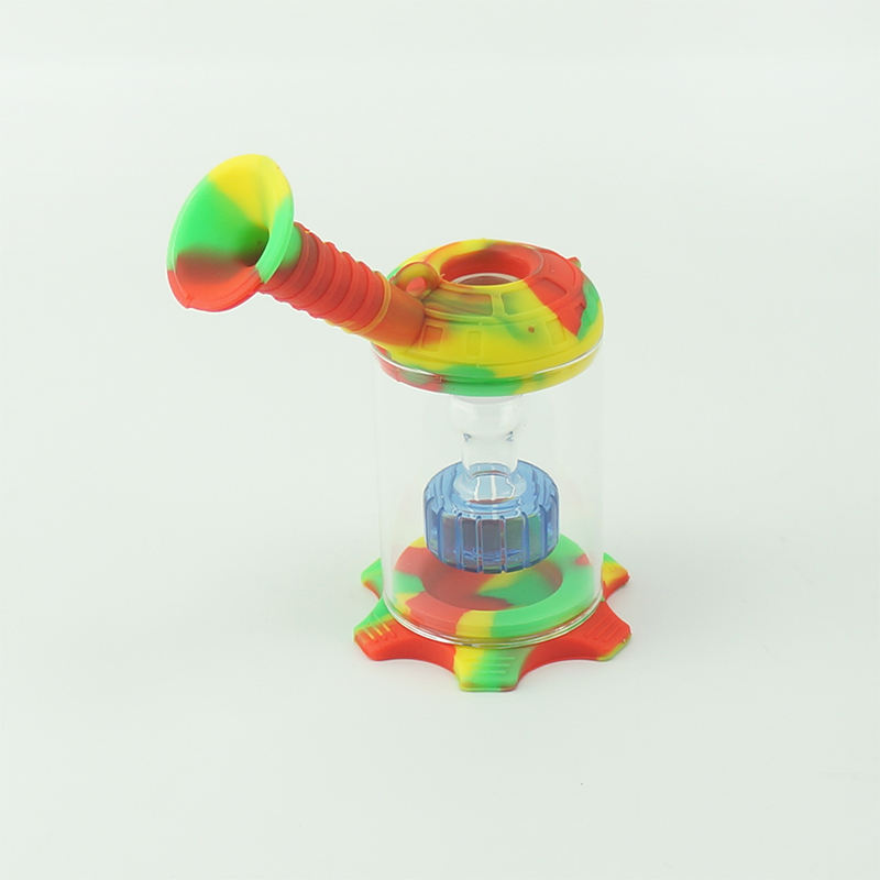 Silicone smoke pipe dab rig glass smoking dry herb water pipe with dabber tools