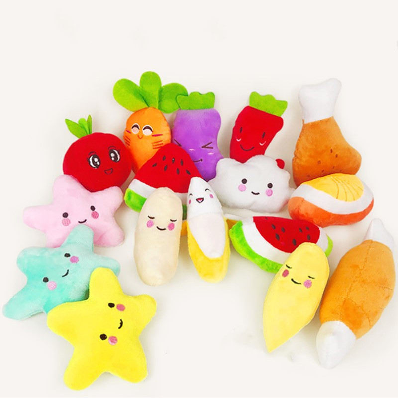 2020 Animals Cartoon Dog Toys Stuffed Squeaking Pet Toy Cute Plush Puzzle for Dogs Cat Chew Squeaker Squeaky Toy for Pet