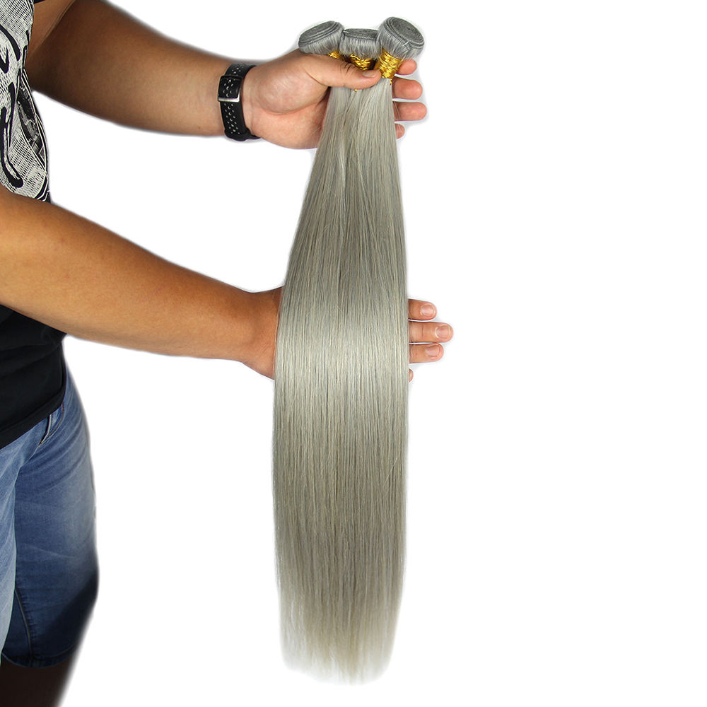 Good feedback italian grey human remy hair weaving
