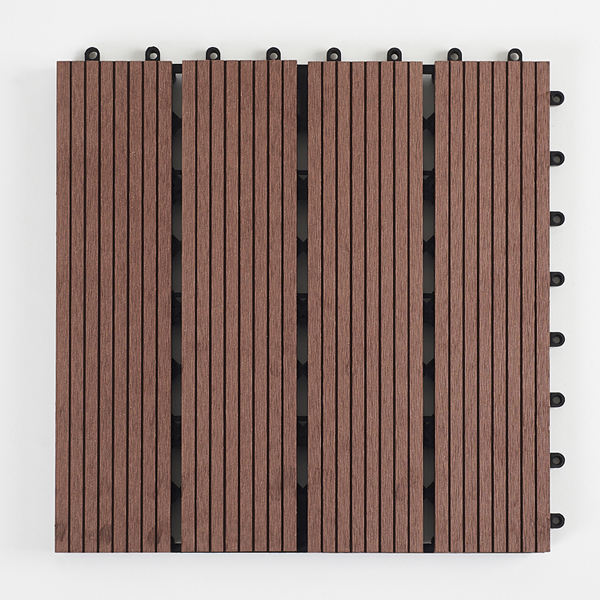 cheap price chocolate and reddish brown hollow decking 300 x 300 wood fiber+HDPE engineered flooring WPC DIY interlock deck tile