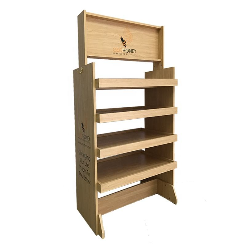 Flooring Wine Shelf Pos Wood Retail Food Display Furniture POP Sale Honey Display Stand