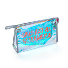 Custom New Fashion Transparent Pvc Handbag Laser Holographic Hologram Cosmetic Pouch Makeup Pvc Tote Bag