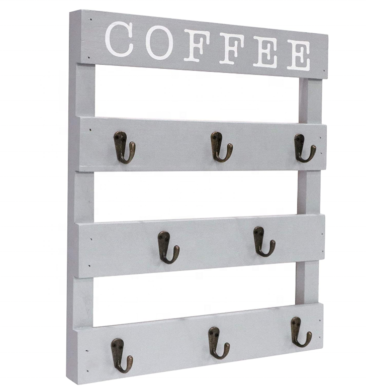 Logo Customization [ Rack Cup ] Wall Mounted Coffee Mug Rack Wooden Coffee Mug Rack Wall Mounted Cup Organizer For Home Kitchen Display Storage And Collection