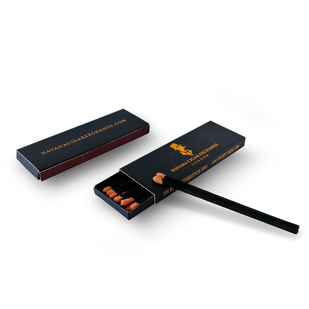 High quality safety custom cigar matches wholesale matchboxes luxury black matchsticks