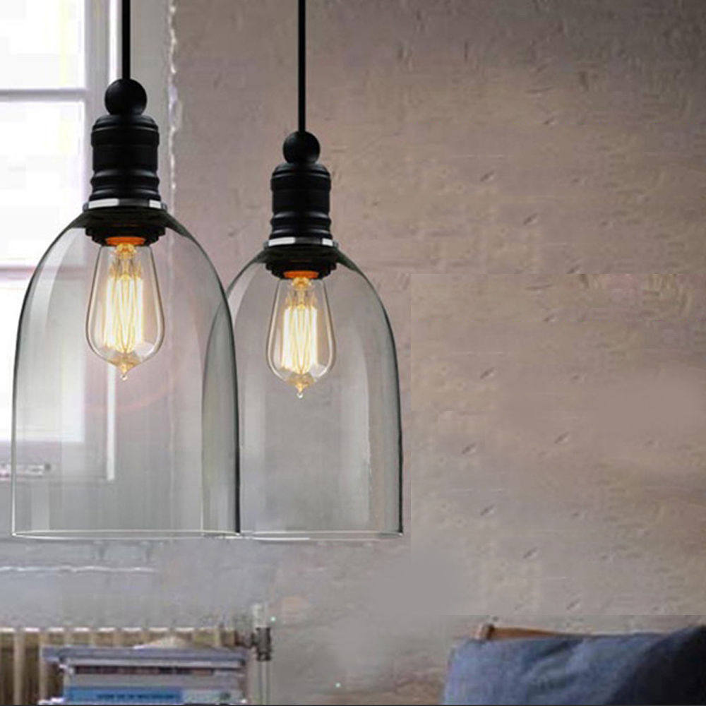 Clear Bell Shape Glass Pendant Lights Featured E27 Length Adjustable Vintage Hanging Lamp Dining Room Home Decor Pendant Lamps