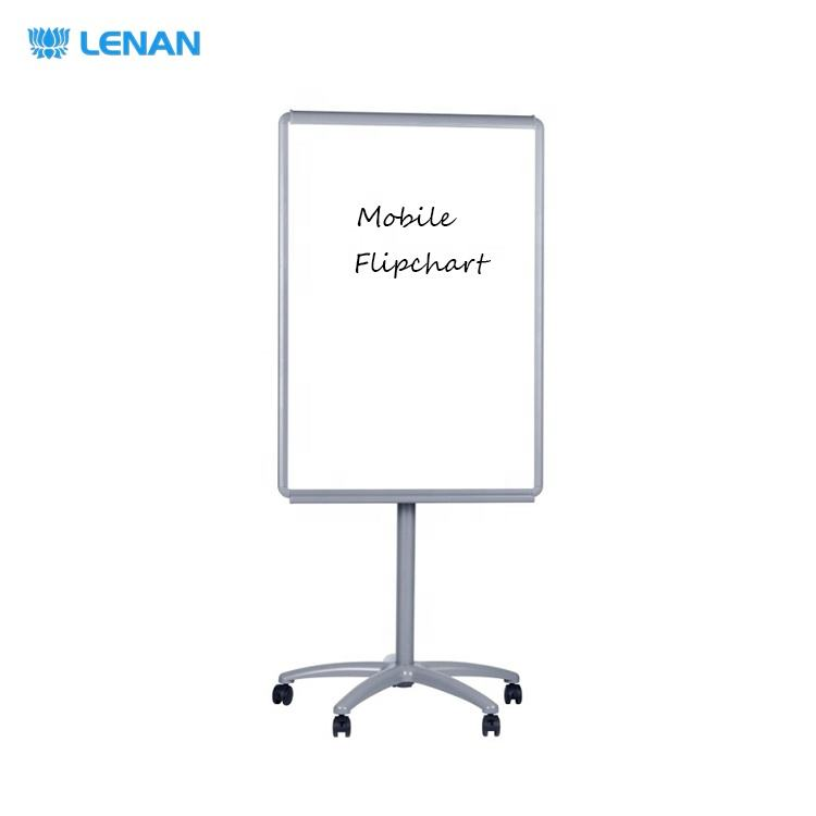 Home school office supplies portable whiteboard flipchart stand easel mobile magnetic flip chart board with wheels