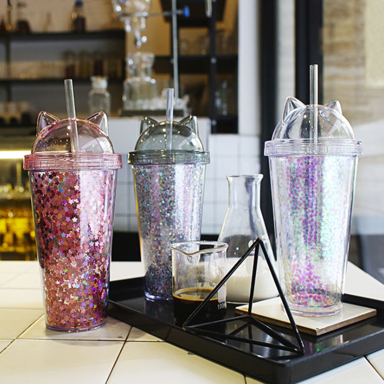Double Wall Cold Ice Tea Coffee Bubble Tumbler Mugs Cat Ear Lid And Straw Insulated Summer Freezable Plastic Tumbler Mugs