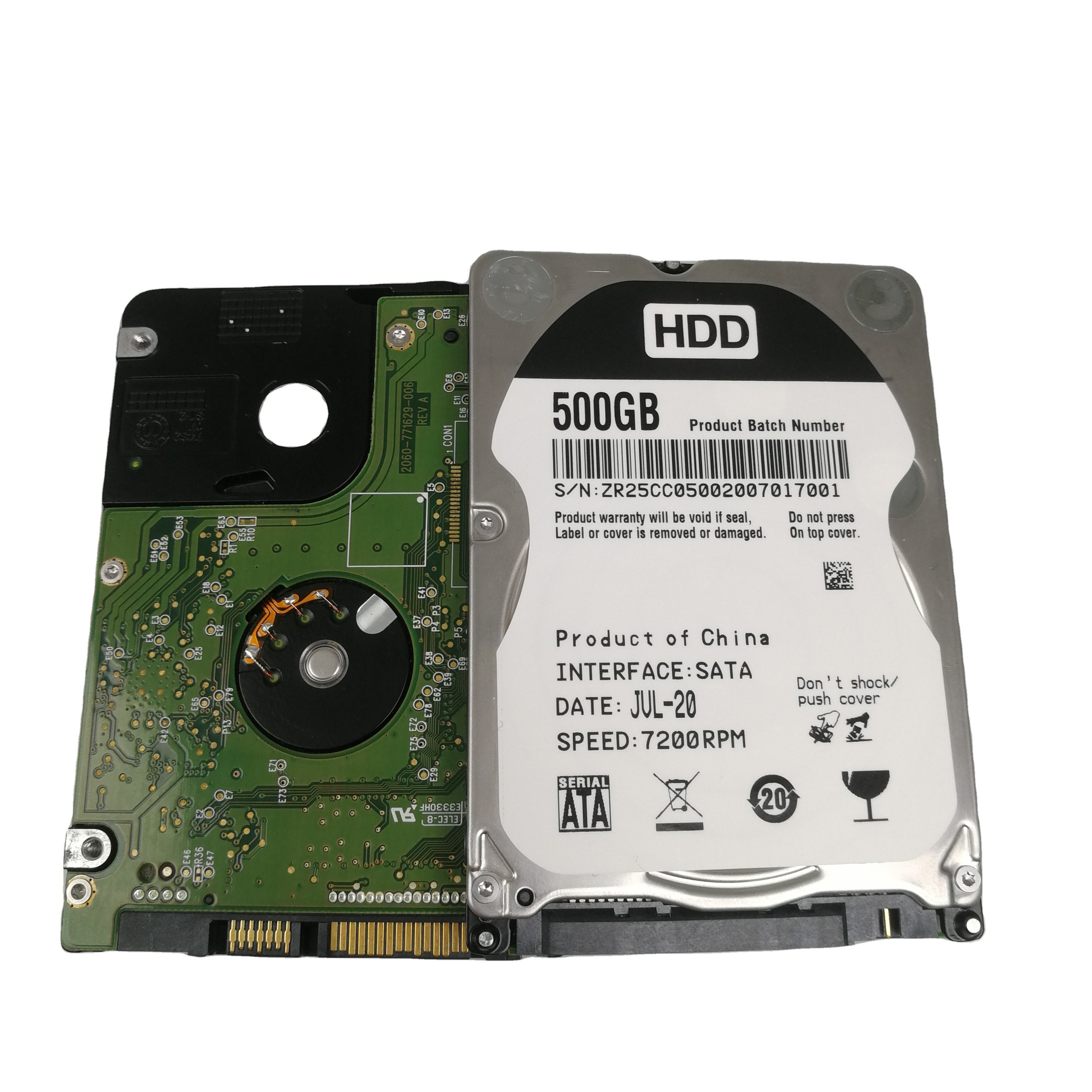 High品質卸売使用hdd 7200rpm 500ギガバイト改装ハードドライブ2.5内蔵hdd
