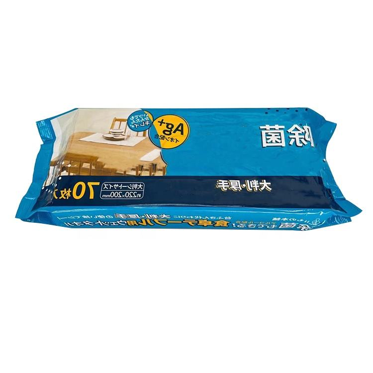 High Quality China Manufacture Adult Size 70pcs Bagged No Alcohol Anti bacterial Wet Wipes Pet Wipes
