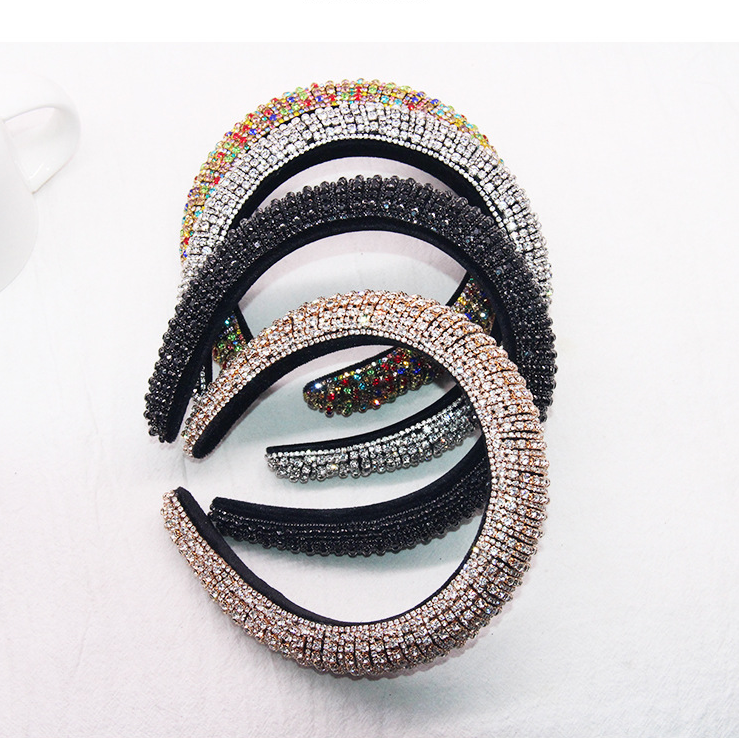 Sparkly Padded Rhinestones Headbands Full Crystal Luxurious Limited Edition Hairbands Bejewled Black White Women Headband