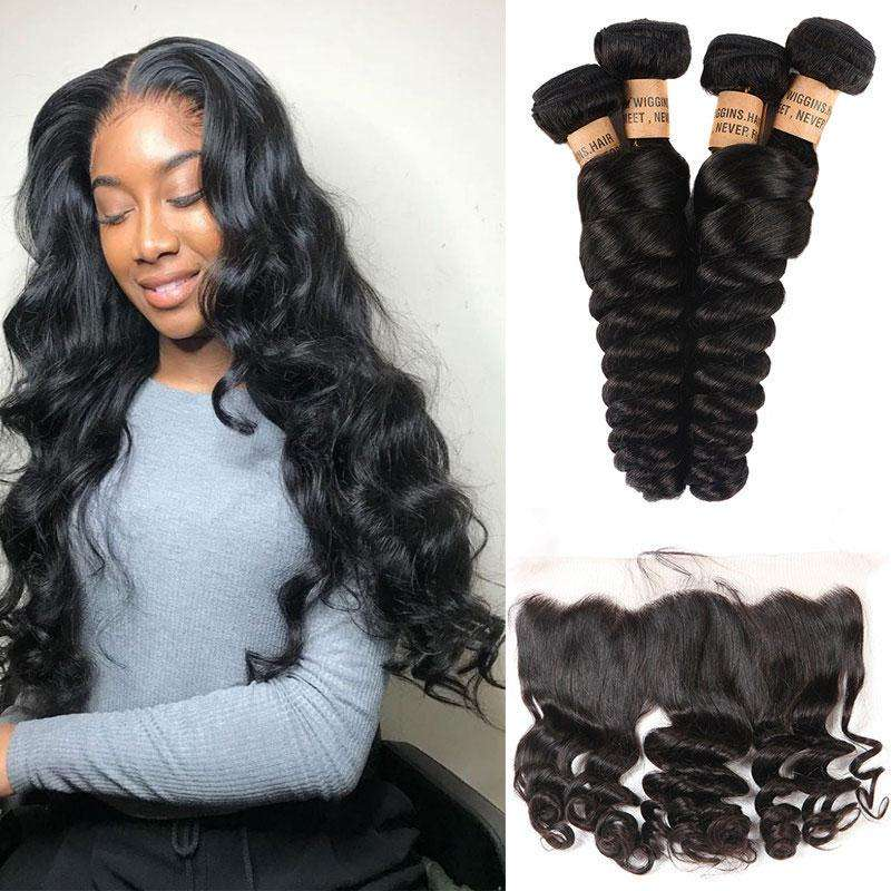 Wholesale Brazilian Human Hair Loose Wave Bundles With 13*4 Lace Frontal,There are many more styles to your satisfaction