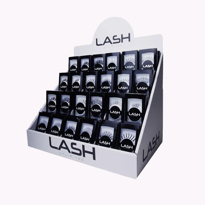 4 Tiers Retail Counter Top Cardboard Custom Lash Pop Display