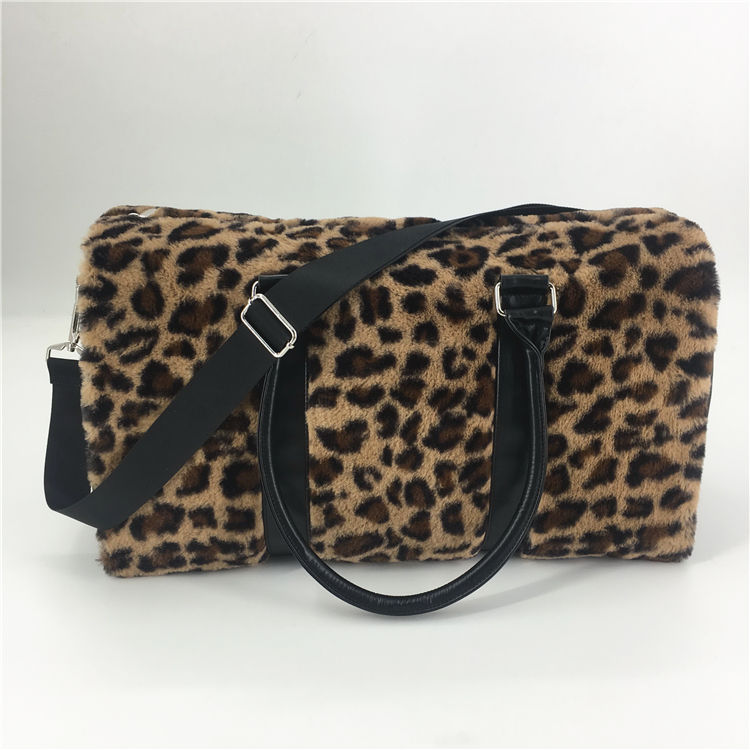 High Quality Leopard Animal Pattern Fake Fur Travel Bags Luggage