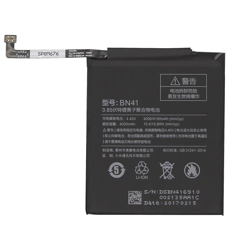 100% Real BN41 4100mAh for Hongmi Note 4 / Redmi Note 4X MTK Helio X20 High Quality BN41 Battery